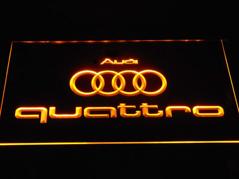 Image of Audi Quattro LED Neon Sign - Yellow - SafeSpecial