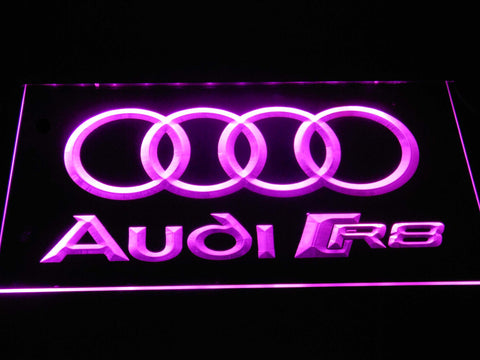 Audi R8 Logo LED Neon Sign - Purple - SafeSpecial