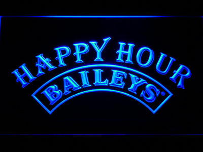 Baileys Happy Hour LED Neon Sign - Blue - SafeSpecial
