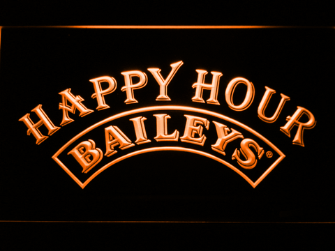 Image of Baileys Happy Hour LED Neon Sign - Orange - SafeSpecial