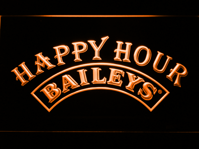 Baileys Happy Hour LED Neon Sign - Orange - SafeSpecial