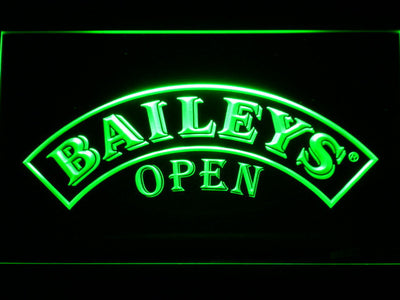 Baileys Open LED Neon Sign - Green - SafeSpecial