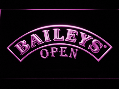 Baileys Open LED Neon Sign - Purple - SafeSpecial