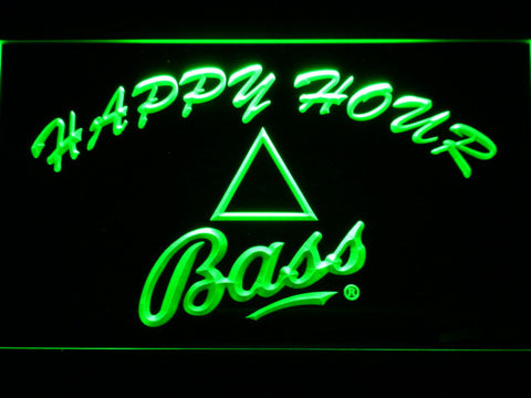 Bass Happy Hour LED Neon Sign - Green - SafeSpecial
