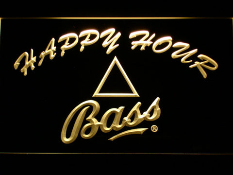 Bass Happy Hour LED Neon Sign - Yellow - SafeSpecial
