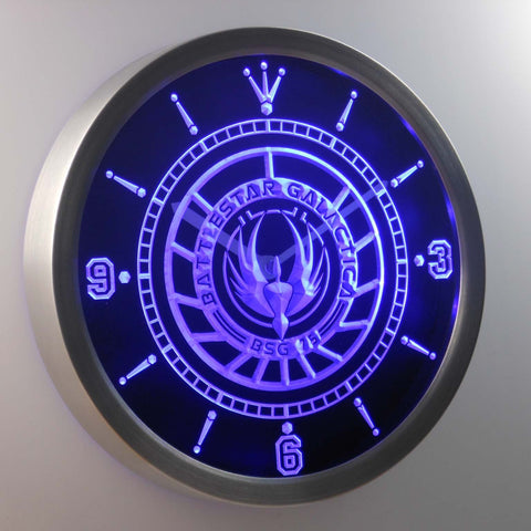 Image of Battlestar Galactica LED Neon Wall Clock - Blue - SafeSpecial