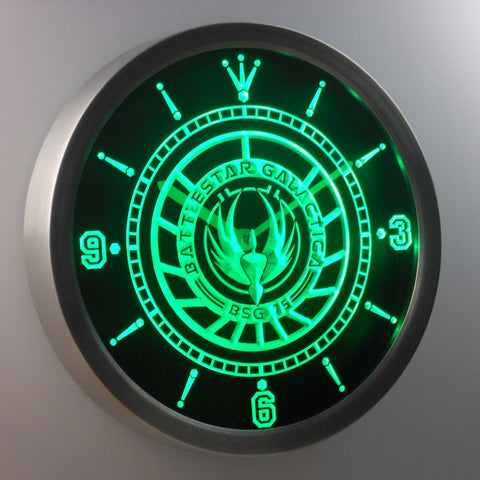 Image of Battlestar Galactica LED Neon Wall Clock - Green - SafeSpecial