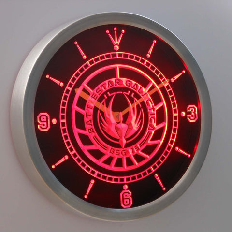 Image of Battlestar Galactica LED Neon Wall Clock - Red - SafeSpecial