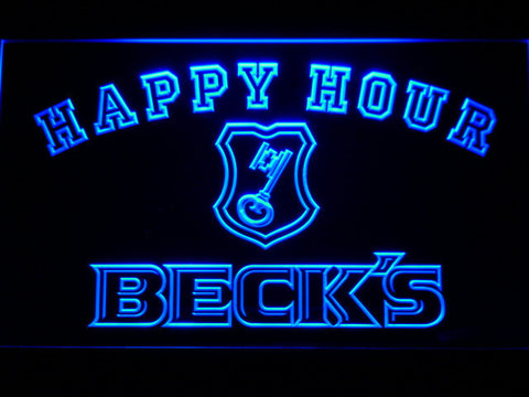 Image of Beck's Happy Hour LED Neon Sign - Blue - SafeSpecial