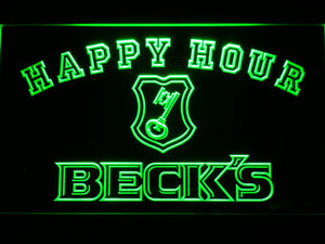 Beck's Happy Hour LED Neon Sign - Green - SafeSpecial