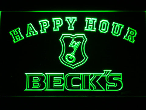 Image of Beck's Happy Hour LED Neon Sign - Green - SafeSpecial