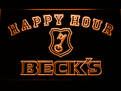 Image of Beck's Happy Hour LED Neon Sign - Orange - SafeSpecial