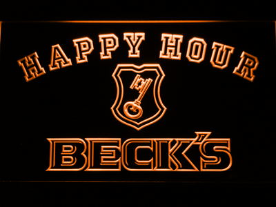 Beck's Happy Hour LED Neon Sign - Orange - SafeSpecial