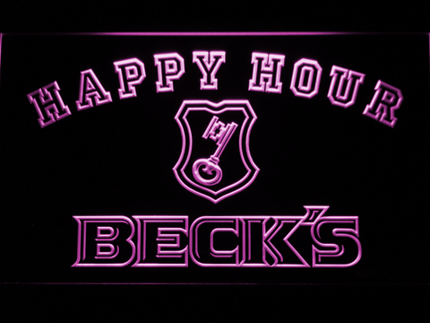 Image of Beck's Happy Hour LED Neon Sign - Purple - SafeSpecial