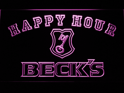 Beck's Happy Hour LED Neon Sign - Purple - SafeSpecial