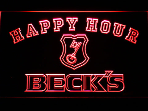 Beck's Happy Hour LED Neon Sign - Red - SafeSpecial
