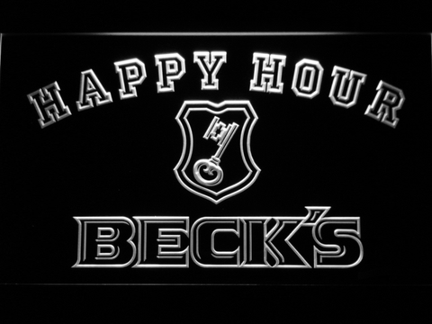 Image of Beck's Happy Hour LED Neon Sign - White - SafeSpecial