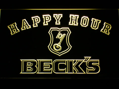 Image of Beck's Happy Hour LED Neon Sign - Yellow - SafeSpecial