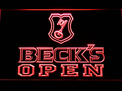 Beck's Open LED Neon Sign - Red - SafeSpecial