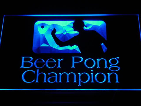 Beer Pong Champion LED Neon Sign - Blue - SafeSpecial