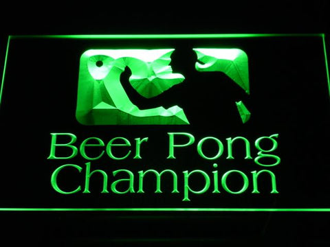Beer Pong Champion LED Neon Sign - Green - SafeSpecial