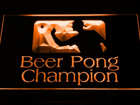 Beer Pong Champion LED Neon Sign - Orange - SafeSpecial