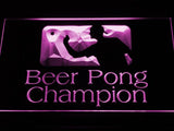 Beer Pong Champion LED Neon Sign - Purple - SafeSpecial
