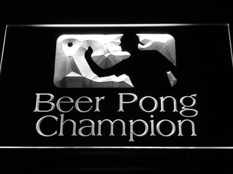 Beer Pong Champion LED Neon Sign - White - SafeSpecial