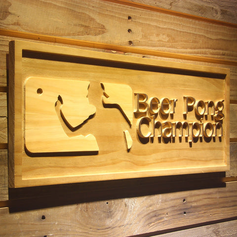 Beer Pong Champion Wooden Sign - - SafeSpecial