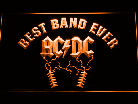 Image of Best Band Ever AC/DC LED Neon Sign - Orange - SafeSpecial