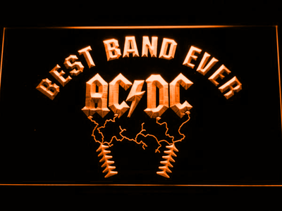 Best Band Ever AC/DC LED Neon Sign - Orange - SafeSpecial