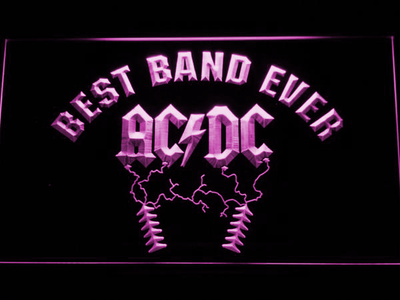 Best Band Ever AC/DC LED Neon Sign - Purple - SafeSpecial