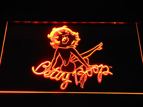 Betty Boop Back LED Neon Sign - Orange - SafeSpecial