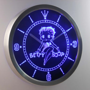 Betty Boop LED Neon Wall Clock - Blue - SafeSpecial