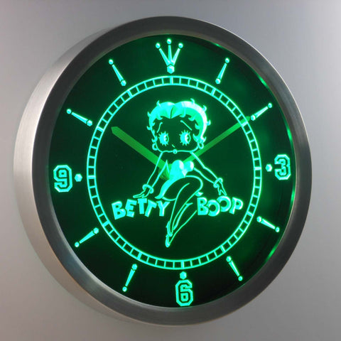 Betty Boop LED Neon Wall Clock - Green - SafeSpecial