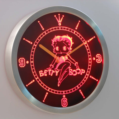 Image of Betty Boop LED Neon Wall Clock - Red - SafeSpecial
