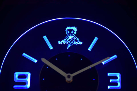 Betty Boop Modern LED Neon Wall Clock - Blue - SafeSpecial
