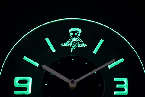 Betty Boop Modern LED Neon Wall Clock - Green - SafeSpecial