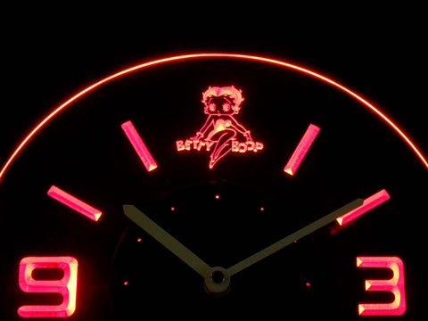 Betty Boop Modern LED Neon Wall Clock - Red - SafeSpecial