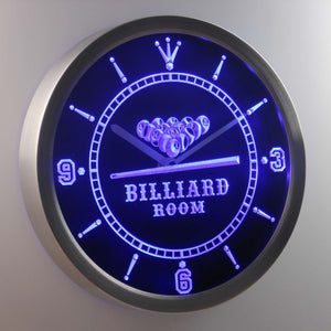 Billiard Room LED Neon Wall Clock - Blue - SafeSpecial