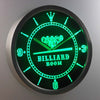 Billiard Room LED Neon Wall Clock - Green - SafeSpecial