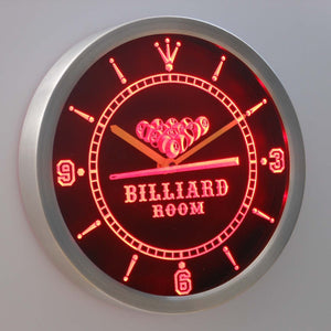 Billiard Room LED Neon Wall Clock - Red - SafeSpecial