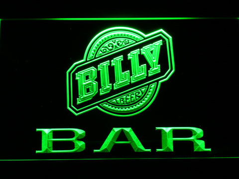 Billy Beer Bar LED Neon Sign - Green - SafeSpecial