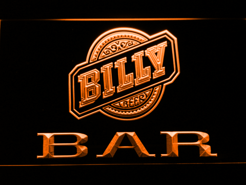 Billy Beer Bar LED Neon Sign - Orange - SafeSpecial