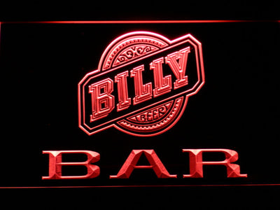 Billy Beer Bar LED Neon Sign - Red - SafeSpecial