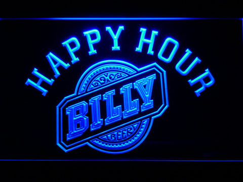 Billy Beer Happy Hour LED Neon Sign - Blue - SafeSpecial