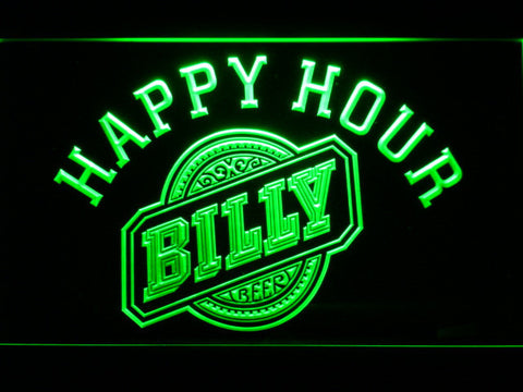 Billy Beer Happy Hour LED Neon Sign - Green - SafeSpecial