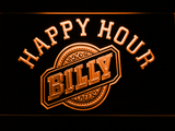 Billy Beer Happy Hour LED Neon Sign - Orange - SafeSpecial