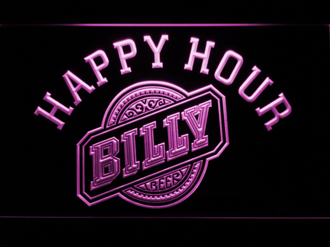Billy Beer Happy Hour LED Neon Sign - Purple - SafeSpecial