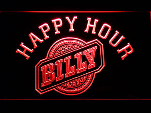 Billy Beer Happy Hour LED Neon Sign - Red - SafeSpecial